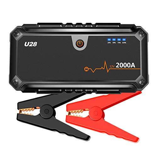 Gyj&mmm Starthilfe Mit Lithium-Akku,2000A Spitzenstrom Auto Starthilfe Autobatterie Anlasser, Mit USB Power Bank, LCD Display, 2 USB-Anschlüsse
