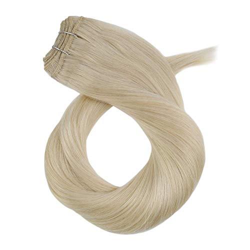 Moresoo 18 Zoll Echthaar Tressen zum Einnähen Blond #60 100% Double Weft Echthaarverlängerungen 100% Remy Human Hair 100g pro Packung