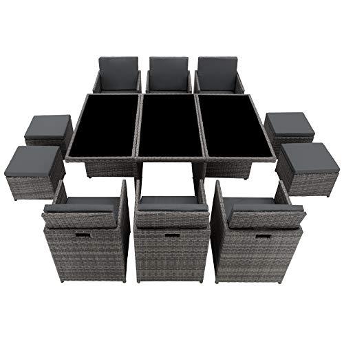 TecTake 403086 Aluminium Poly Rattan Sitzgruppe 6+1+4, klappbar, für bis zu 10 Personen, inkl. Schutzhülle und Edelstahlschrauben, grau - 9
