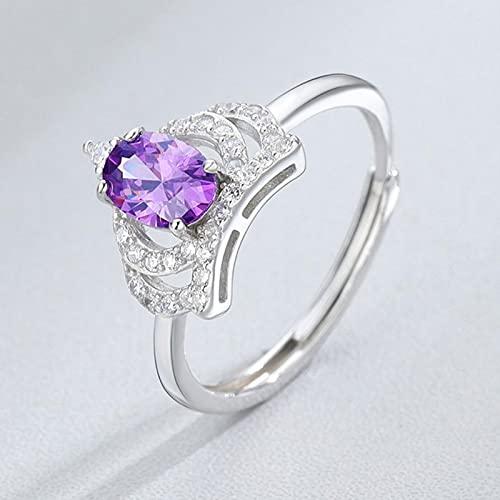 Crown Zircon Moda Coreana Luz de Lujo Temperamento de Lujo Amatista Abrir Mujer Diamante Anillo S925 Regalo de Plata esterlina