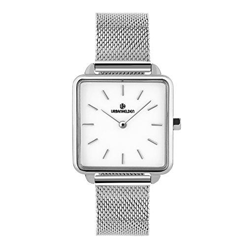 URBANHELDEN Armbanduhr Madison mit Mesharmband - Damenuhr Edelstahl, Mineralglas, Quarzwerk, 28,5 mm eckige Retro Damen Uhr - Metall Armband Silber