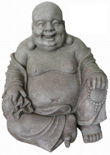 Stone-Lite Figura de Buda Sentado riendo - para casa y jardín -...