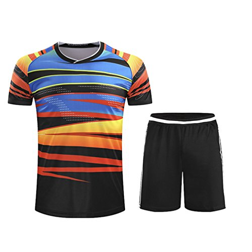 Kuncg Kurzarm Badminton Kleidung Tischtennis Kleidung Sport Anzüge Freizeitkleidung Für Herren und Jungen Dunkle Streifen L