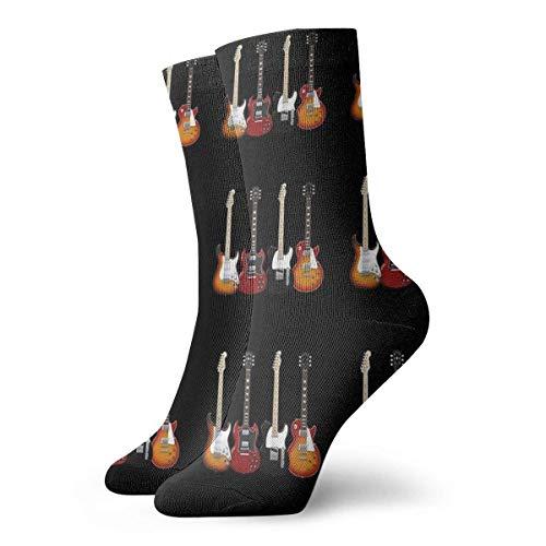 Calcetines de cuatro guitarras eléctricas Calcetines cortos deportivos clásicos de 30 cm...