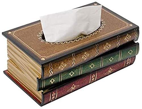 ZINE Caja de pañuelos de madera clásica retro de estilo antiguo para libros, rectangular, para decoración del hogar, baño, sala de estar, oficina, coche, cocina