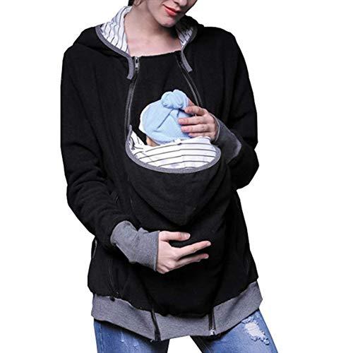Portabebés Chaqueta Multifunción Madre Canguro con Capucha Otoño e Invierno Vestido de Maternidad Kangaroo Hoodie, Para Baby Wearing Carrier Holder Sudadera