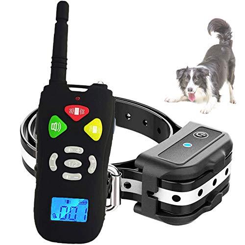 Collar adiestramiento para Perros, Collar antiladridos para Perros Alcance de 500 Metros, con Sonido, Vibración