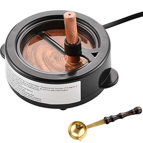 MOCOHANA Wax Seal Kit 60W Electric Wax Seal Warmer with Wooden Handle Wax Melting Spoon Hot Melt Glue Pot Wax Sticks Wax Beads Melting Furnace Tool for Wax Sealing Stamp