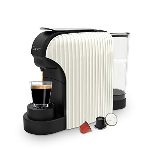 Espresso Machine, Gretess Coffee Machine Programmable Buttons for Espresso and Lungo, Compatible with Nespresso Capsules, Italian 20 Bar High Pressure Pump,34 Oz Water Tank, OPT-07MW-1