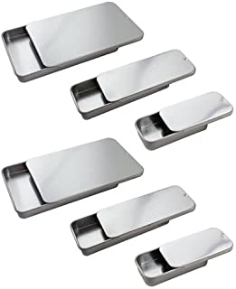 Metal Slide Top Tin Container Set (Small, Medium, Large) - 6 piece- 2 of each size