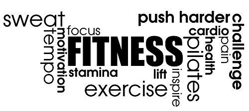 Fitness Sport Crossfit Fit Entrenamiento Gimnasio y Fitness Pilates Cardio Dolor de salud el sudor de enfoque Tempo–Cita de motivación pared calcomanías de vinilo pegatinas Art Decor DIY