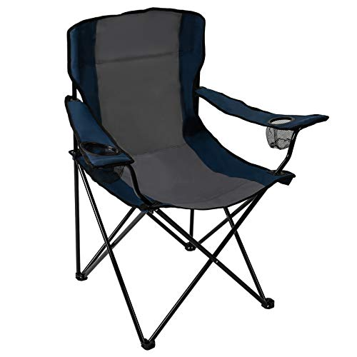 Pacific Pass Quad Chair for Camping and Fishing with Two Cup Holders, Carry Bag Included, Supports 225lbs, Middle, Blue/Gray