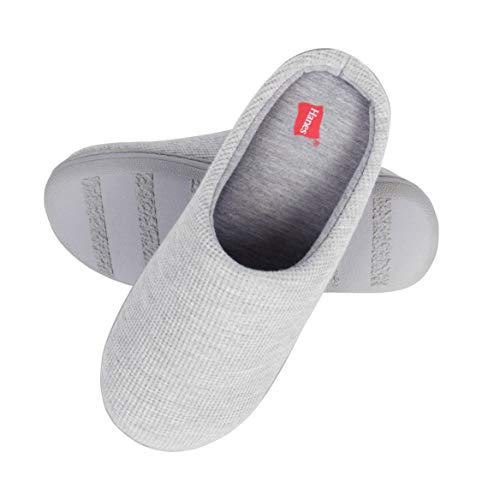 Hanes Women's Soft Waffle Knit Clog Slippers with Indoor/Outdoor Sole, Grey, XL