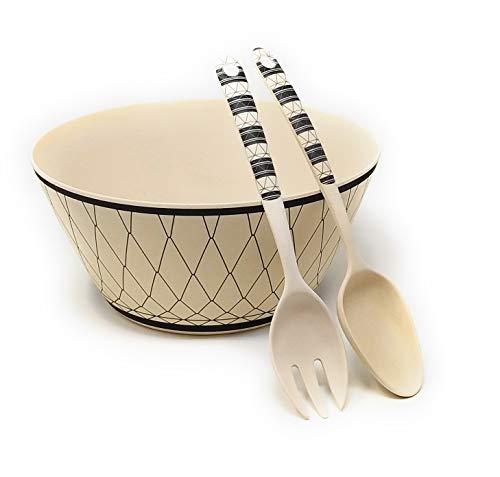 Kucly Ensaladera con Cubiertos para Servir Ensalada 100% Eco-Friendly/Bambú/Ø 25 cm x 11,5 cm (Naif)