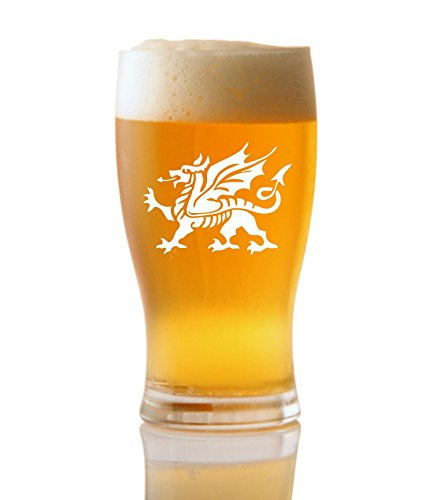 1 pinta tulipano birra in vetro con Welsh Dragon design Non inscatolato