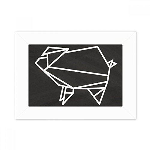 DIYthinker Resumen de Origami Cerdo Forma geométrica del Marco de Escritorio Foto Arte Cuadro Blanco Pintura 5X7 Pulgadas