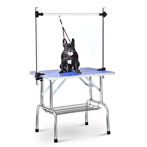 Frisiertisch für Hunde, verstellbar Metall Querlatte, leicht zu transportieren, inkl. Schlinge und Zubehör, Aluminiumkanten, 90 x 60 x 76 cm