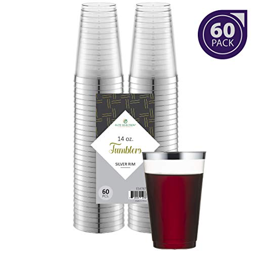 Silver Plastic Cups 14 Oz. Pack of (60) Clear Disposable Plastic Cups - Silver Rim Cups - Fancy Hard Plastic Cups - Party Accessories - Wedding - Elegant Clear Cups- Tumblers