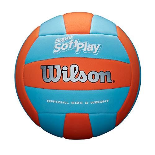 Wilson WTH90119XB Pelota de Voleibol Super Soft Play Cuero sintético Interior y Exterior, Unisex-Adult, Naranja/Azul, Tamaño Oficial