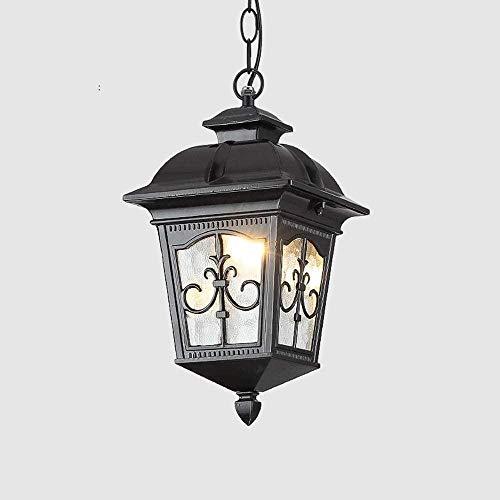 IP54 Lámpara Colgante de Linterna de Vidrio Impermeable a Prueba de Lluvia European Victoria Retro Luz Colgante de Techo para Exteriores E27 Edison Patio Porche Hight Lámpara de araña Ajustable A