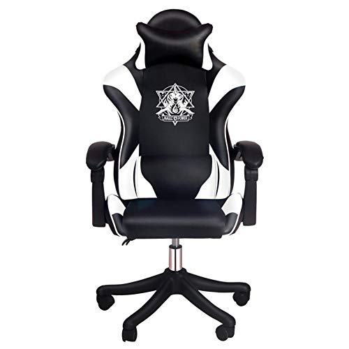 Silla Gaming, Oficina Escritorio Silla con Ruedas Sillas De Juveniles, PC Despacho Ergonomica Chair, SillóN Reclinable Giratorio Elevable Ajustable De 135 °, Vistoso,Blanco