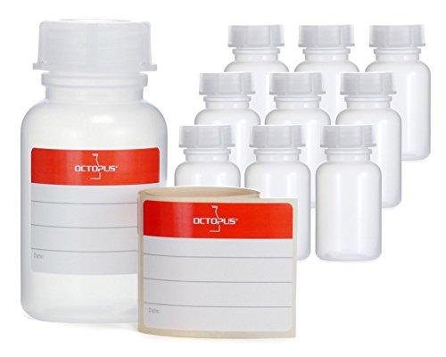 10 x 100 ml botellas de boca ancha de LDPE con cierre de rosca, botella vacía para químicos, botella de laboratorio con tapa, como recipiente de almacenamiento para laboratorio, cocina u ocio