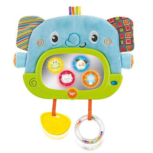WinFun 000175-NL Elefantenfreund für Tag und Nacht, Kinderbettspielzeug, Autositzspielzeug mit Beiß, Rassel, Ring, Knister, interaktiv mit Spiegel, Tieren, Lichter & Musik, blau / grün