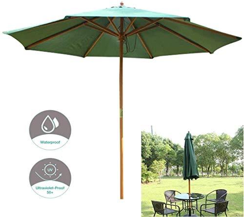 Ø270cm Jardin Parasol, Extérieur Pare-soleil, Crème Solaire Et Anti-pluie Ceinture À Manivelle, For L'extérieur Terrasse De Jardin En Bois (Color : Green)