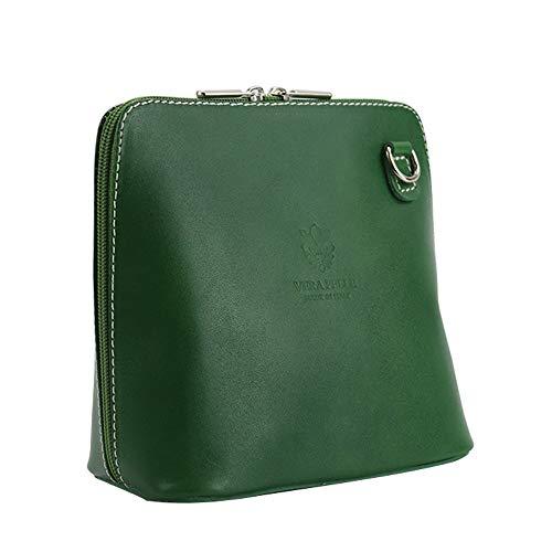 Handgefertigte kleine Umhängetasche aus echtem italienischem Leder von Vera Pelle mit Schulterriemen, Schwarz - grün - Größe: Small