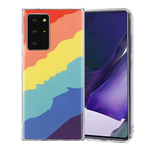 Miagon Bunt Kunst Regenbogen Hülle für Samsung Galaxy Note 20 Ultra,Ultra Dünn Silikon TPU Schutzhülle Handyhülle Weiche Stoßfest Anti-Scratch Cover,Köper