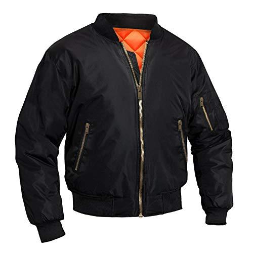 TOTNMC Men's Bomber Jacket Fleece Coats Varsity Men Jacket Fall Winter Coats Outwear Baseball Jackets for Men Black