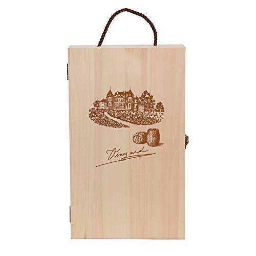 Lzcaure Caja de regalo para botellas de vino, de madera, de dos tamaños para bodas y aniversarios de boda (color como se muestra, tamaño: M)