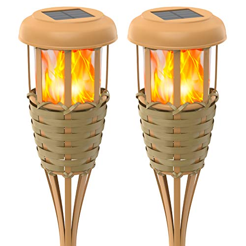 backyard torches Evelynsun Flickering Flames Solar Powered Lights - Upgraded Solar Torches Waterproof Outdoor Decorative Lighting Auto On/Off, Handmade Bamboo Finish, 2-Pack
