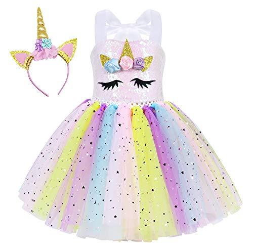 WonderBabe Fantasia de festa de aniversário de lantejoulas céu estrelado de unicórnio sem mangas para meninas vestido de malha fofa princesa balé Colorido-6-7Y