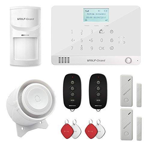 Wolf Guard MR1 GSM pantalla LCD sistema de alarma de seguridad para el hogar, auto dial, control de aplicación, viene con sensor de movimiento, sensor de ventana de puerta