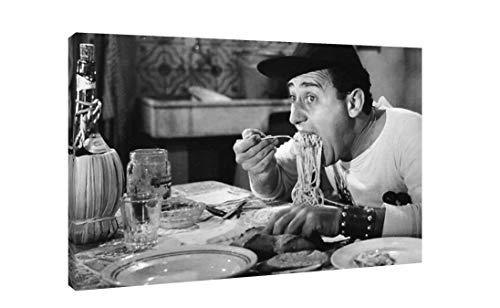 Quadro Moderno Alberto Sordi Un Americano a Roma - Stampa su Tela Canvas 61 x 40 cm - Film - Cinema - Bianco e Nero - Maccarone - Arredo Casa - Ristorante - Bar - Made in Italy