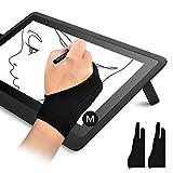 OTraki 2 PCS Guante Dibujo Digital Palma Rejection Guantes de Artista Zurdo e Diestro Guante Antiincrustantes de Dibujo para Tableta Gráfica, Talla M (8x20.5CM)