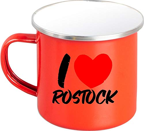 Shirtinstyle EMAILLE Kaffeepott Tasse I Love Rostock, Kaffeetasse Becher Retro Camping, Farbe Rot