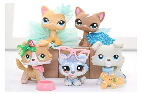WOLFGIRL LPS Lot LPS Collie 363 272 LPS Husky 1683 Dogs LPS Shorthair Cat 339 1170 Kitten Collect Figure with Accessories Lot Kids Gift