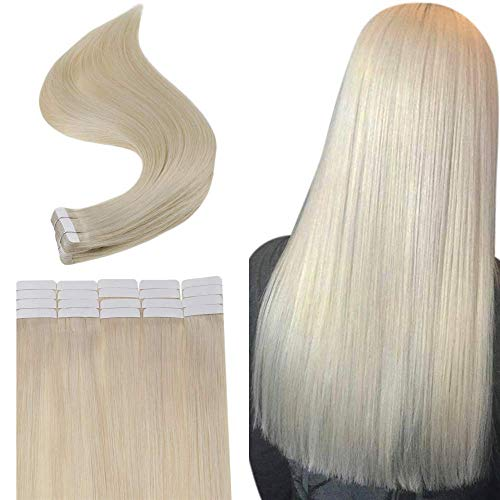 Full Shine Platinum Blonde Color #60 100% Remy Brazilian Straight Echthaar HaarVerlängerung Skin Weft Tape in Human Hair Extensions Tape in Band Für Extensions