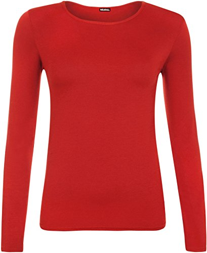 WearAll - Haut Simple à Manches Longues avec Un col Rond - Hauts - Femmes - Rouge - 44-46
