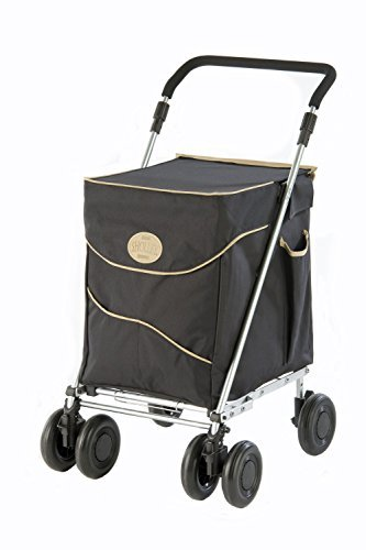 Sholley Deluxe Shopping Trolley 4 (6) Wheels, Folding, Strong, Stable, Aids Mobility, Ladies, Mens and Unisex Designs (Black & Sand, Petite)