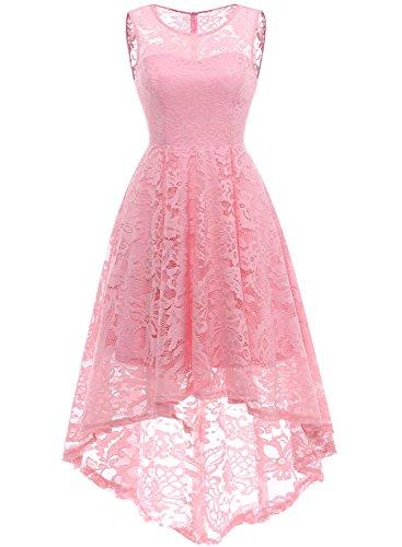 MuaDress 6006 Elegante Abendkleider Cocktailkleider Damenkleider Brautjungfernkleider aus Spitzen Knielange Rockabilly Ballkleid Rund Ausschnitt Rosa M
