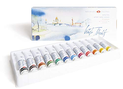 Honsell White Nights Künstler-Juego de Acuarelas Colores de 10 ml en Tubos, carbón, 12 unidades, 120
