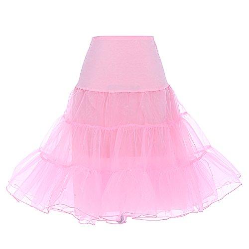DRESSTELLS Mujeres Cancan 50s Retro Rockabilly Enaguas Miriñaques Faldas Pink