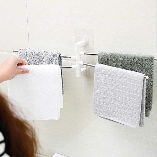SAM APPLIANCES Stainless Steel 4 Bar Towel Rack for Bathroom Towel Holder for Kitchen Towel Hanger Stand for Wash Basin - Self Adhesive