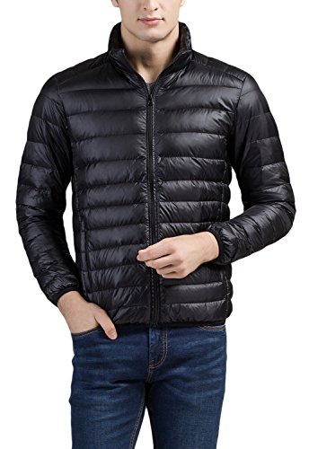 Cheering Men's Packable Down Jacket Winter Coat Black X-Large