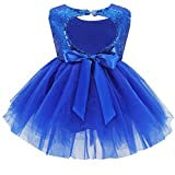 Toddler Girl Baby Lace Flower Sequin Tutu Dress Tulle Pageant Wedding Party Formal Girls Dresses Royal Blue 6-12M