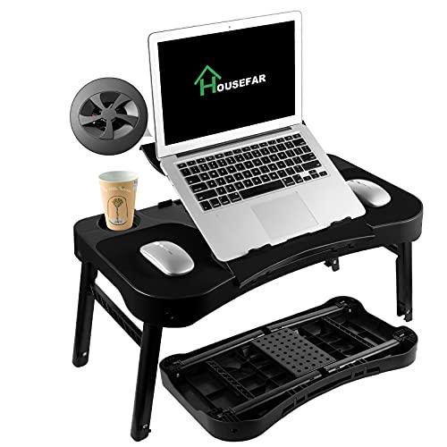 Mesa de cama ajustable para ordenador portátil, soporte para lectura, portátil, mesa de dormitorio para mano derecha e izquierda y ranura para taza, para desayuno, lectura, ver películas en cama/sofá