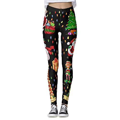 Women's Workout Running Leggings, Women's Christmas Leggings Classic Santa Claus Snowman Tree Prints Yoga Pants Ladies Workout Fitness Tights Sports Trousers Jogging Yoga Trousers Fitness Gym Tights C